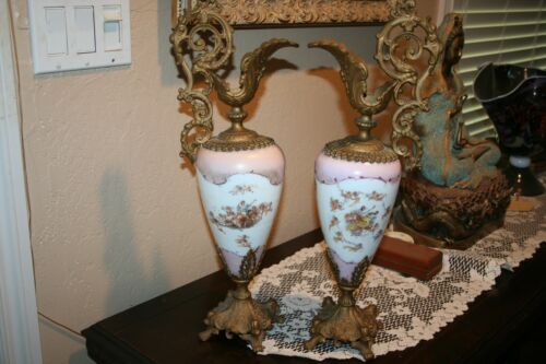 Antique Ornate Bronze Handled Porcelain Large Pair of French Ewers