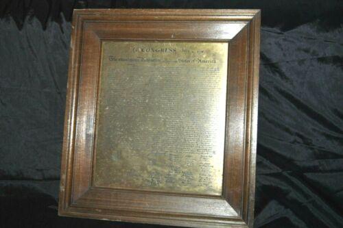 Fabulous Antique Declaration of Independence Engraved Brass Plaque Framed