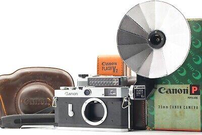【NMINTw/Box】Canon P Rangefinder Film Camera body w/ Light Meter,Flash From Japan