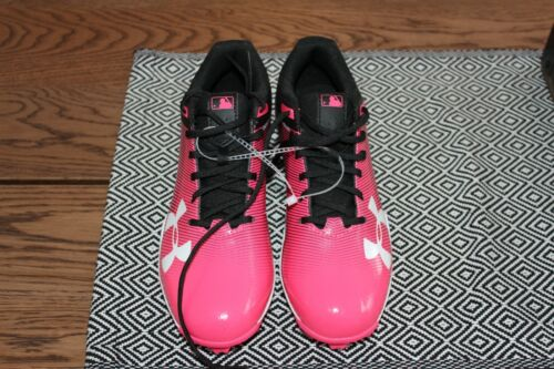 Under Armour Leadoff Low NEW 1297316-002 Youth Pink Black Baseball Cleats Size 5