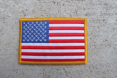 AMERICAN FLAG EMBROIDERED PATCH iron-on YELLOW BORDER USA United States QUALITY