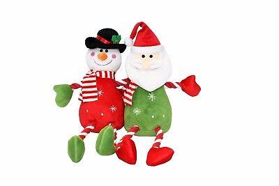 Good Boy Christmas Festive Hug Tug Santa Snowman Tugger Dog Puppy Rope Toy 40cm