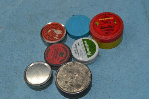 Vintage blackpowder PERCUSSION CAP / primer 7 pc tin / plastic lot EMPTY