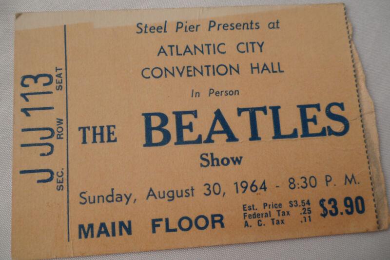 THE BEATLES Original__1964__CONCERT TICKET STUB__Atlantic City__EX+