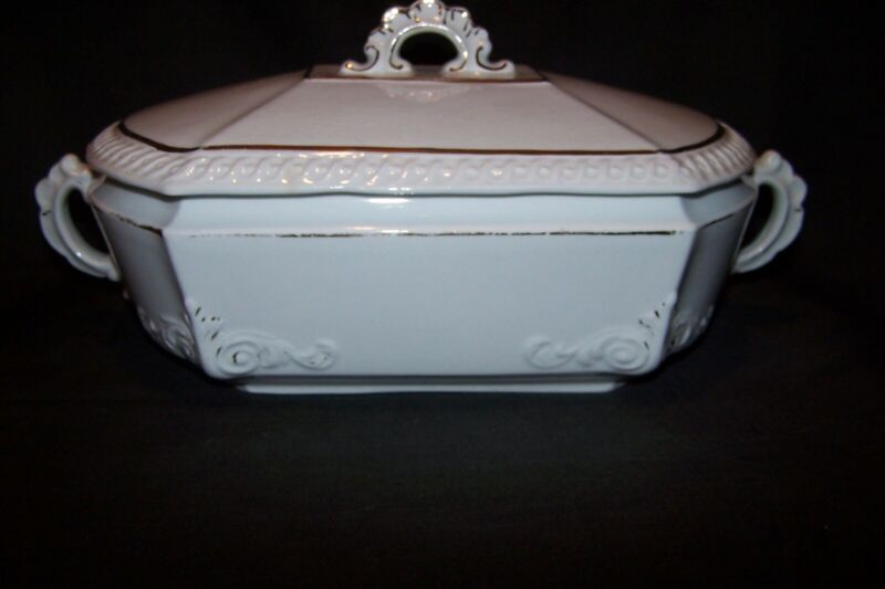 Vintage Antique Powell Bishop England Ironstone Tureen or Covered Dish