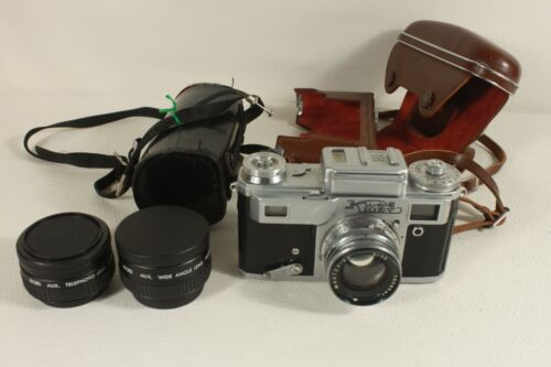 KIEV vintage camera and two lenses. (ref C 556)