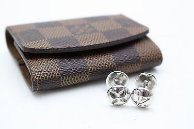 Authentic Louis Vuitton Cuff Links & Case Boutons de Manchette Silver 925 75581