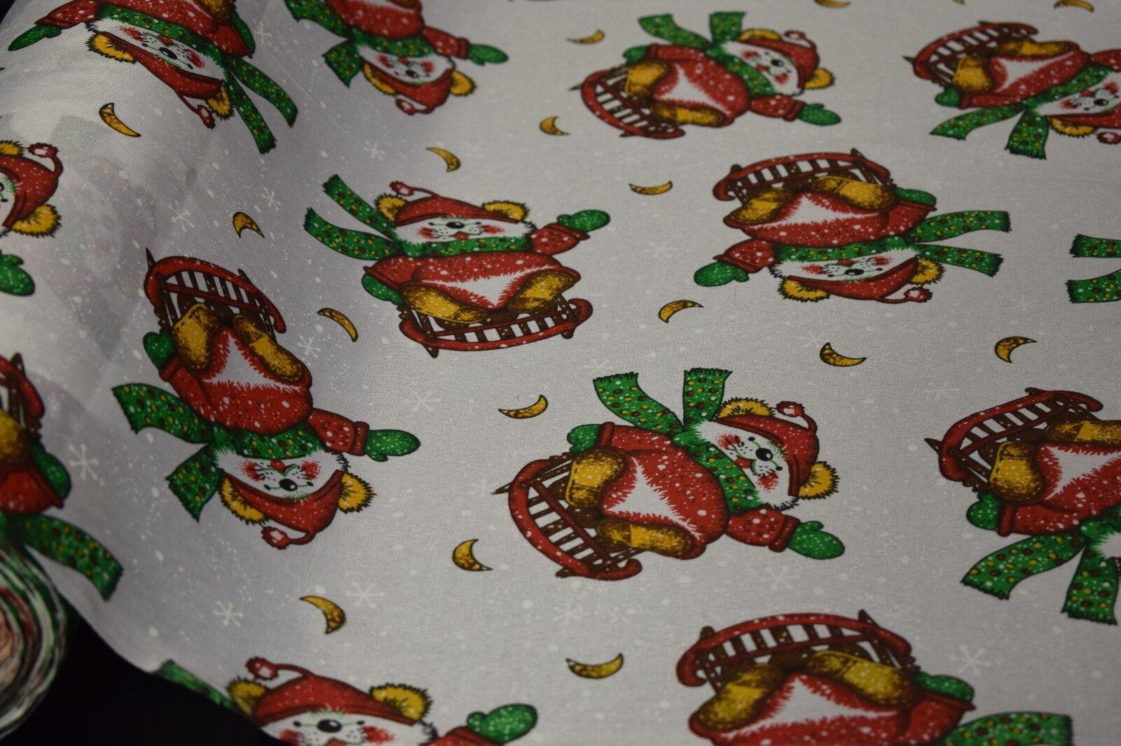 Quilt Fabric Print Craft Apparel Christmas Bear Sled Tableto