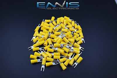 10-12 Gauge Vinyl Spade 6 Yellow 25 Pk Crimp Terminal Connector Awg Ga Car