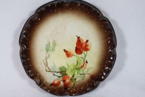 Antique WARWICK China Porcelain Teapot TRIVET Bittersweet Berries 1890
