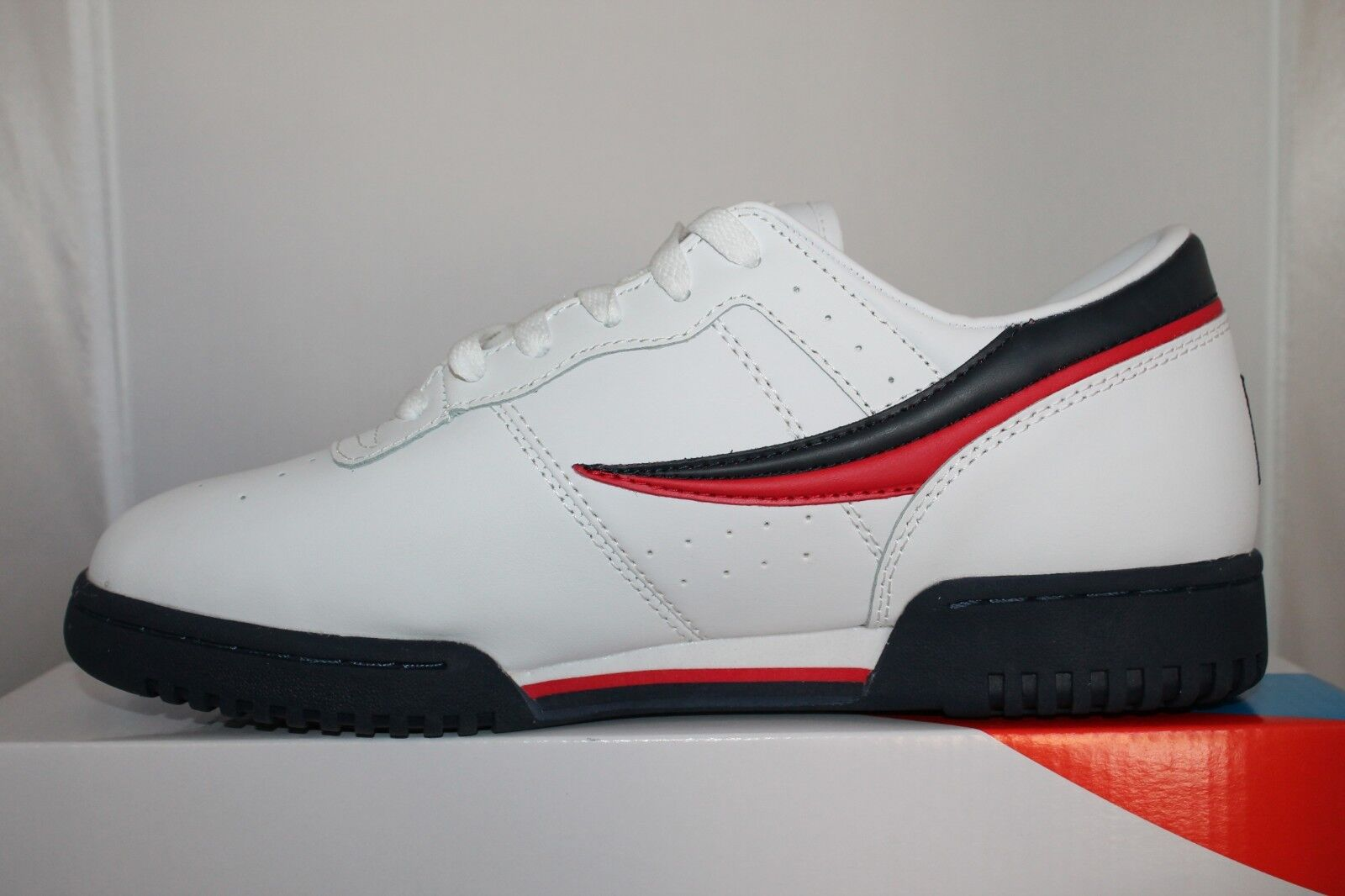 timeless design a5154 2a3b1 Mens Fila Original Fitness Classic Retro Casual Athletic Shoes White Navy  Red - inkFrog