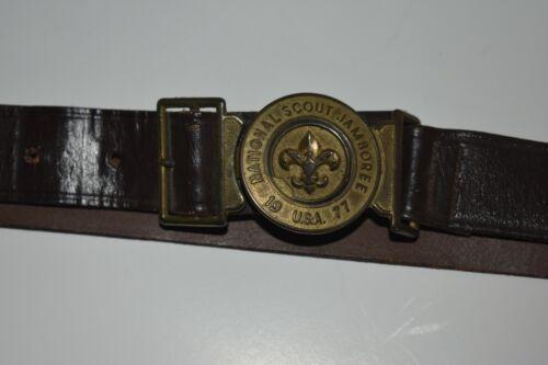 Vintage Boy Scout Leather Belt National Jamboree 1977