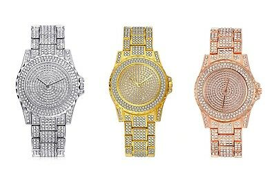 Pave Gold PT Simulated Crystal Pave Watch Ruby QC Chain Cuban Bracelet Set O ()