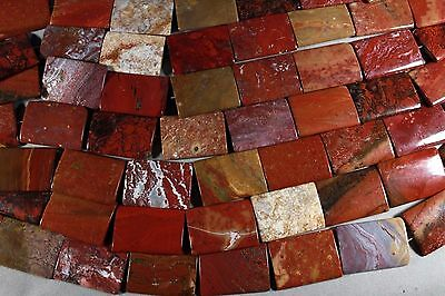 - FANCY RED OCEAN JASPER 35x25MM RECTANGLE  PILLOW BEADS 15.5