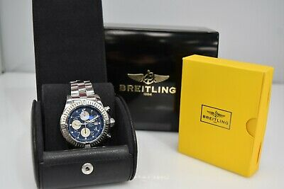 Breitling Super Avenger Automatic SS Chronograph Blue Dial A13370 Watch