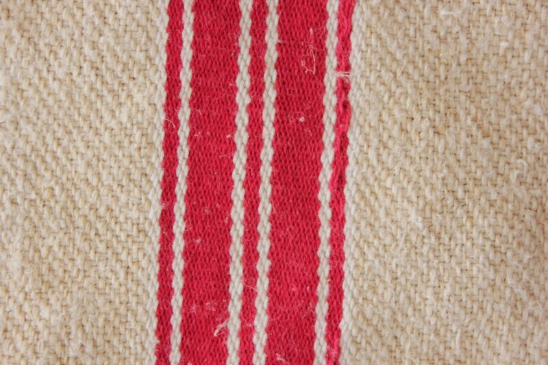 GRAINSACK hemp grain sack hemp linen grain sack bag linen HEAVY TWILL RED WHITE