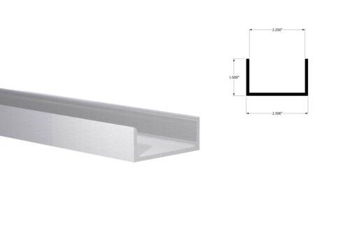 """Aluminum Channel:(2-1/2"""" W x 1-1/2"""" H x 1/8"""" Wall)Fits 2-1/4"""" Mill Finish 4 Foot"""
