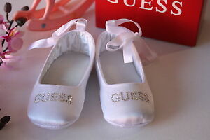 BNIB-Genuine-Guess-Baby-Girls-Ballerina-Shoes-Pink-White-Size-0-3