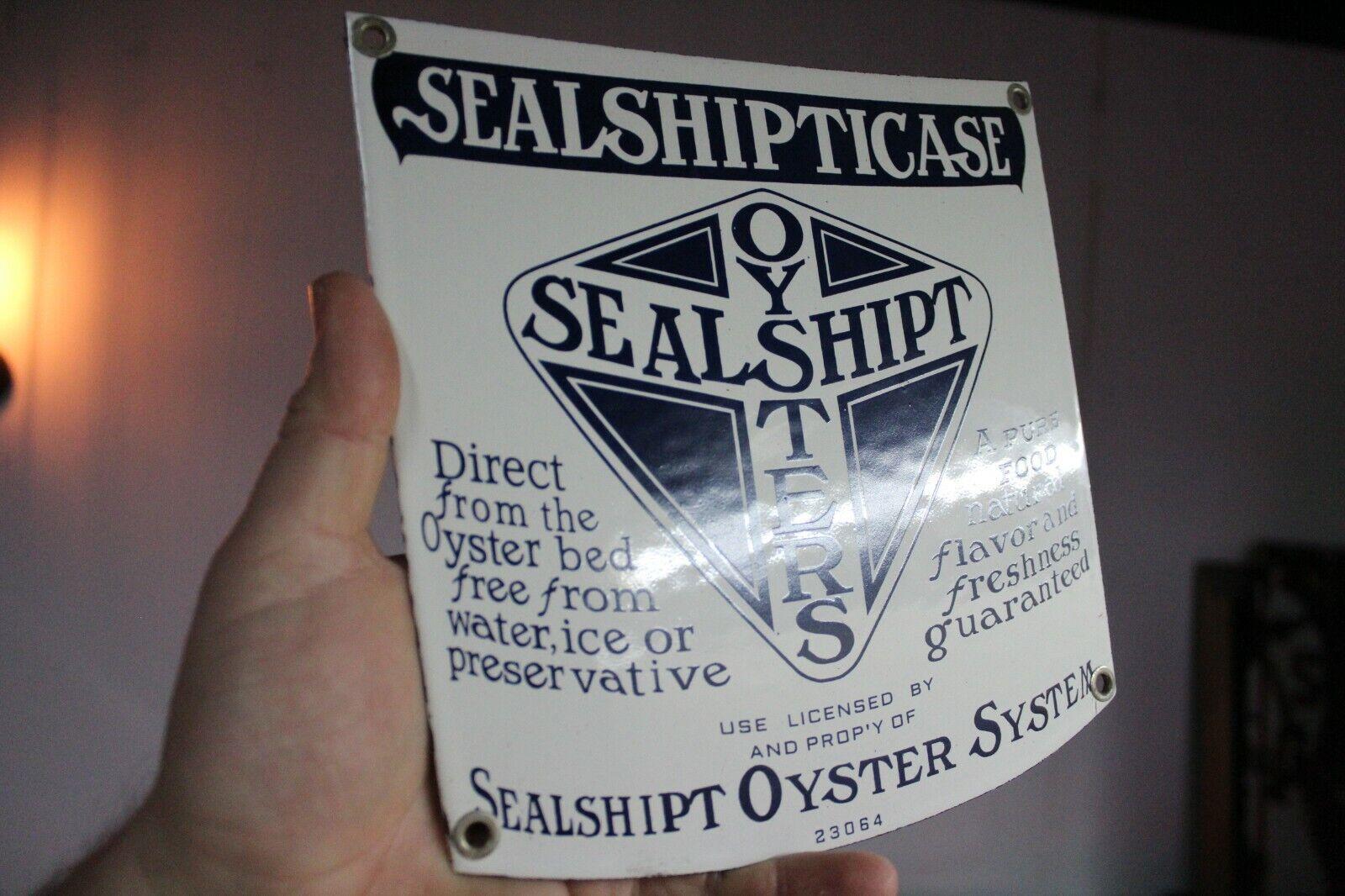 OYSTERS SEALSHIPT SYSTEM PORCELAIN METAL SIGN SEA FOOD FISHING CASE MARINE BOAT - $37.00