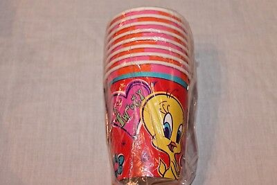 NEW LOONEY TUNES TWEETY RED 8 PAPER CUPS PARTY SUPPLIES