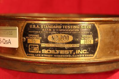 U.s.a Standard 8 Test Sieve A.s.t.m.e. 75 Micrometer.0029 Soiltest 200mesh