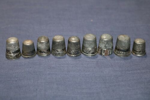 Lot of 9 Sterling Silver Thimbles - some Marked Engraved