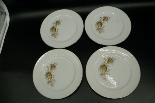 Lot of 4 Bread Plates Pinecone Branch Warranted 22k