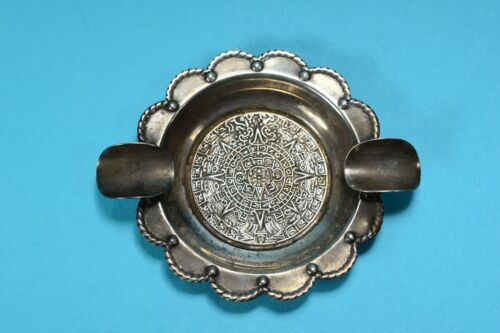 Vintage Sterling Silver Aztec Calendar Ashtray Mexico-- 2439