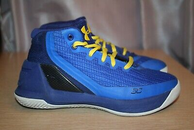 UNDER ARMOUR UA Curry 3 'Dub Nation' Blue/Yellow Basketball Shoes Kids Youth 13Y