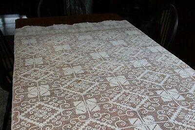Vintage White Net Lace Tablecloth 64x78