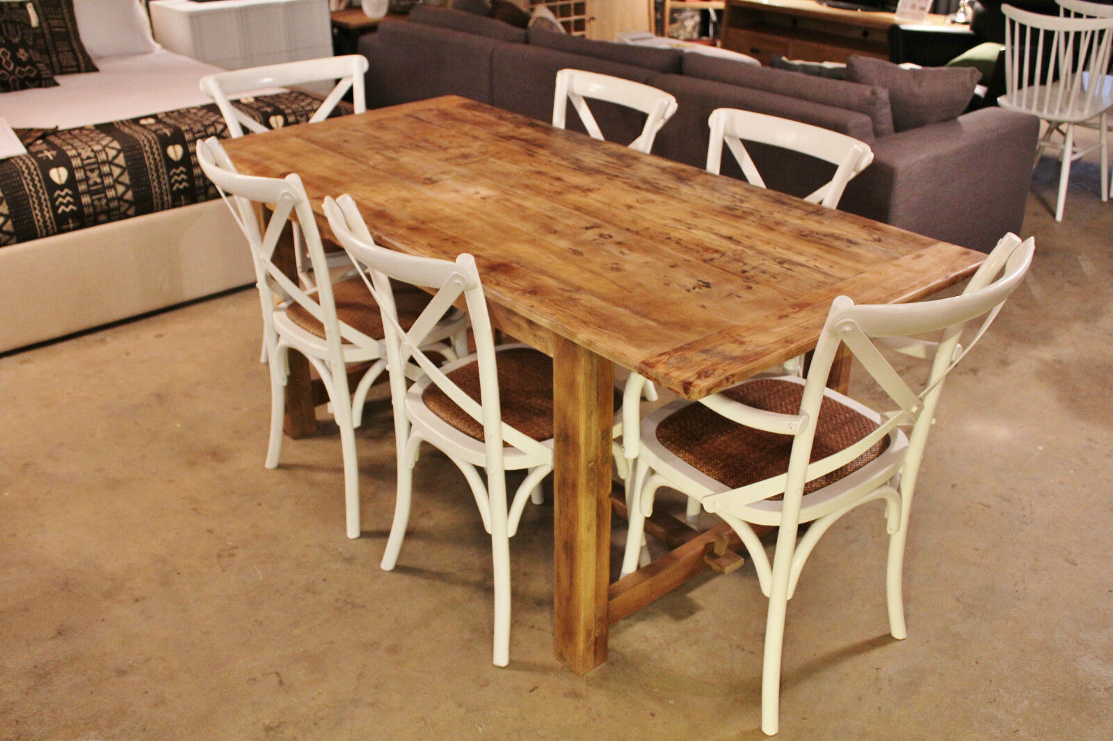 Farmhouse Style Rough Rustic Finish Dining Table