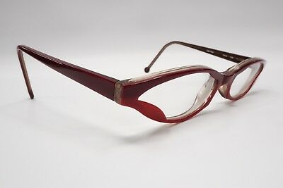 Vtg '04 LA EYEWORKS Rx Eyeglasses Frame Yaya 938 Red Modern Cat Eye Italy 6626