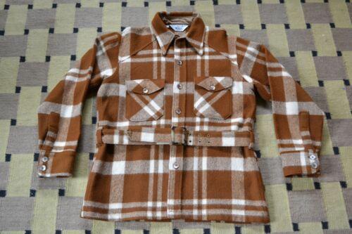 Vintage Mens 60s Brown PLAID belt belted WOOLRICH wool jacket shirt L