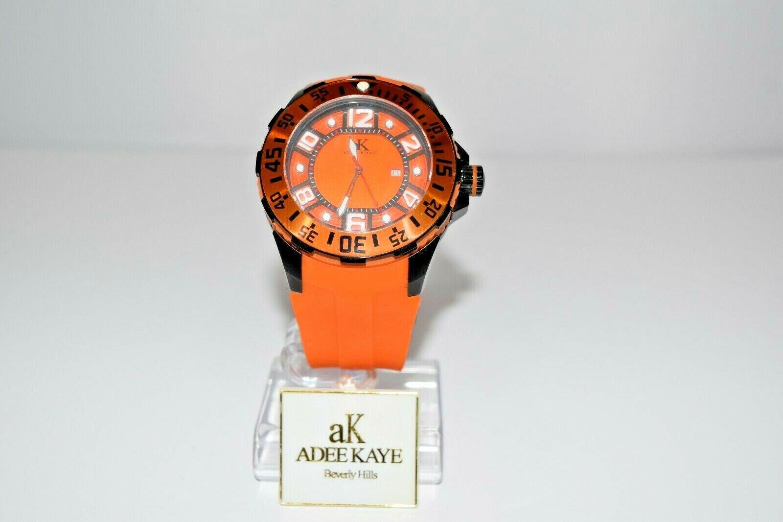 aK Adee Kaye Men`s Rubber SS Oversized AK7117RB Watch Orange