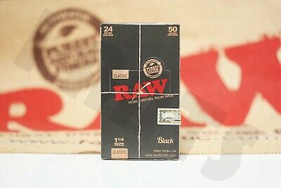 Roll Of Black Paper (FULL BOX 24 PACKS OF AUTHENTIC RAW BLACK DOUBLE PRESSED ROLLING PAPER 1 1/4)
