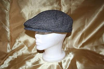 VTG Dorfman Pacific WOOL Tweed Newsboy Cabbie Cap Hat Beanie L Black Grey EUC - Newsboy Beanie