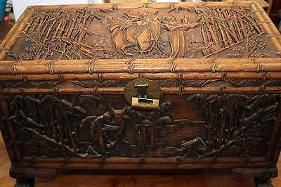 Large Antique Chinese Camphor Wood Chest, deep exquisite carving on all sides
