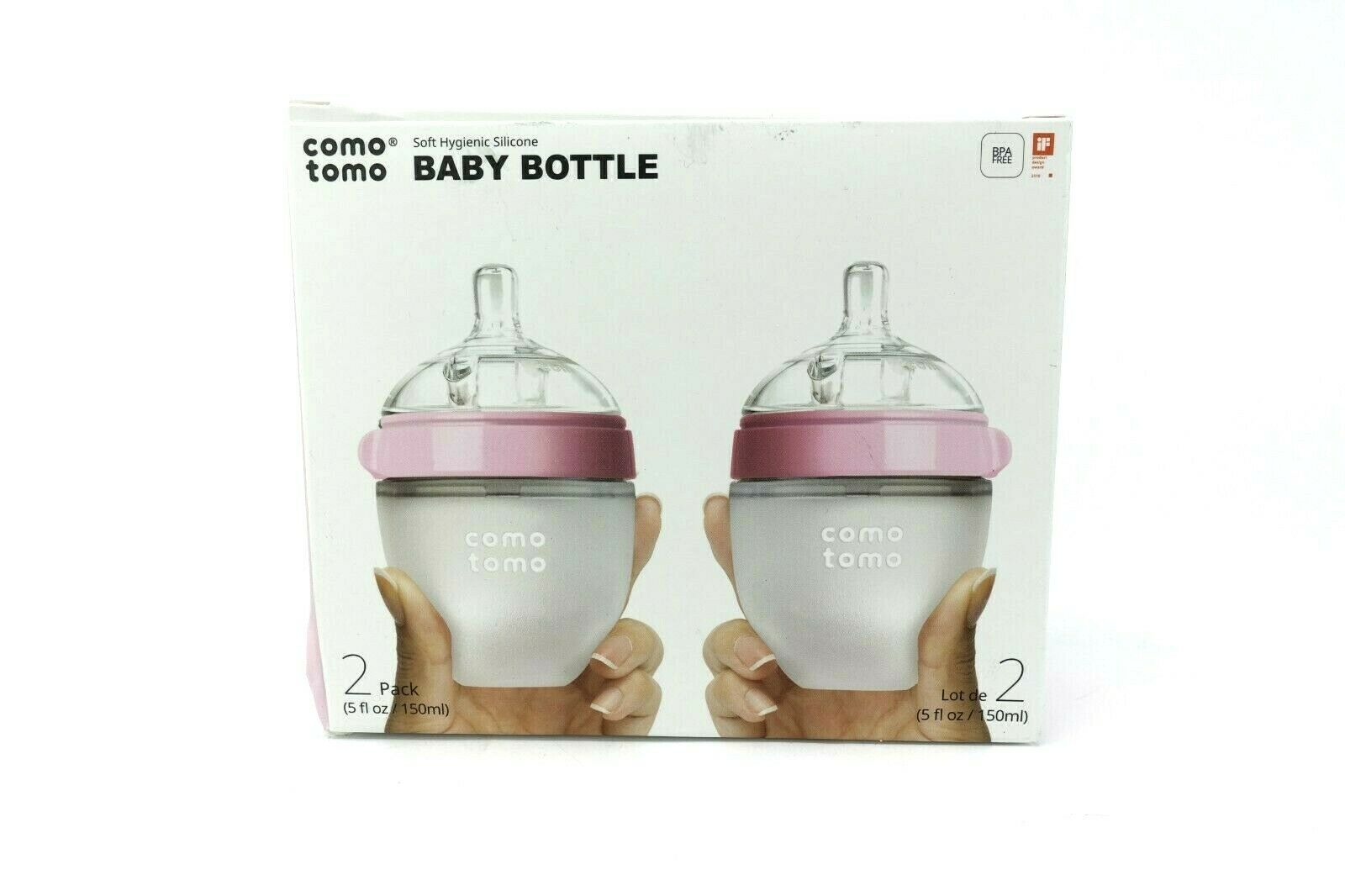 Comotomo Natural Feel Baby Bottle, Double Pack Pink, 150ml
