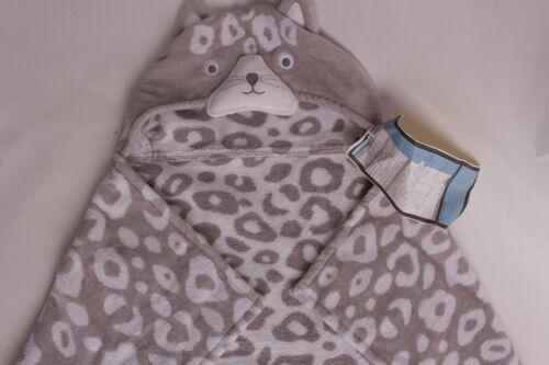 Pottery Barn Kids Gray Leopard baby nursery bath wrap hooded towel *final sample