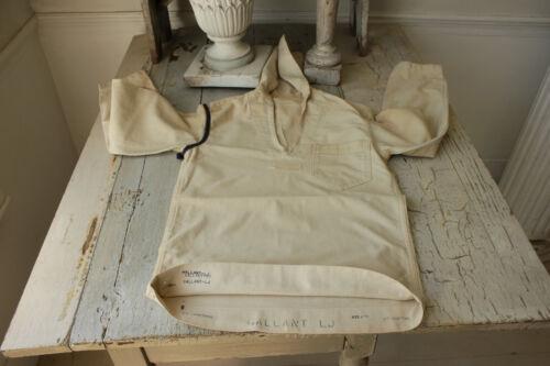 Vintage sailor shirt cotton & linen USA aged naval navy flap collar workwear