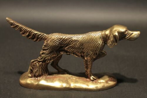 Vintage Antique Style Brass Pointer Hunting Dog Paperweight Desk Statue
