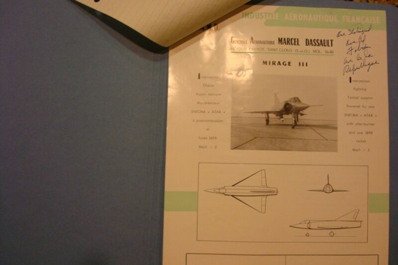 FRENCH DISSAULT AVIATION BROCHURES ON MIRAGE AIRCRAFT