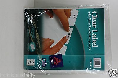 Avery Clear Label Index Maker Presentation Dividers White Tabs 11416