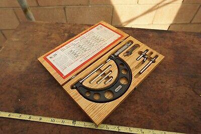 L.s.starrett Micrometer Caliper Set No. 224 Range 0-4.001 Set Aa