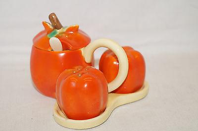 Unusual Paprika Form Cruet Stand Salt Pepper Mustard 50er Years Ceramics 6937