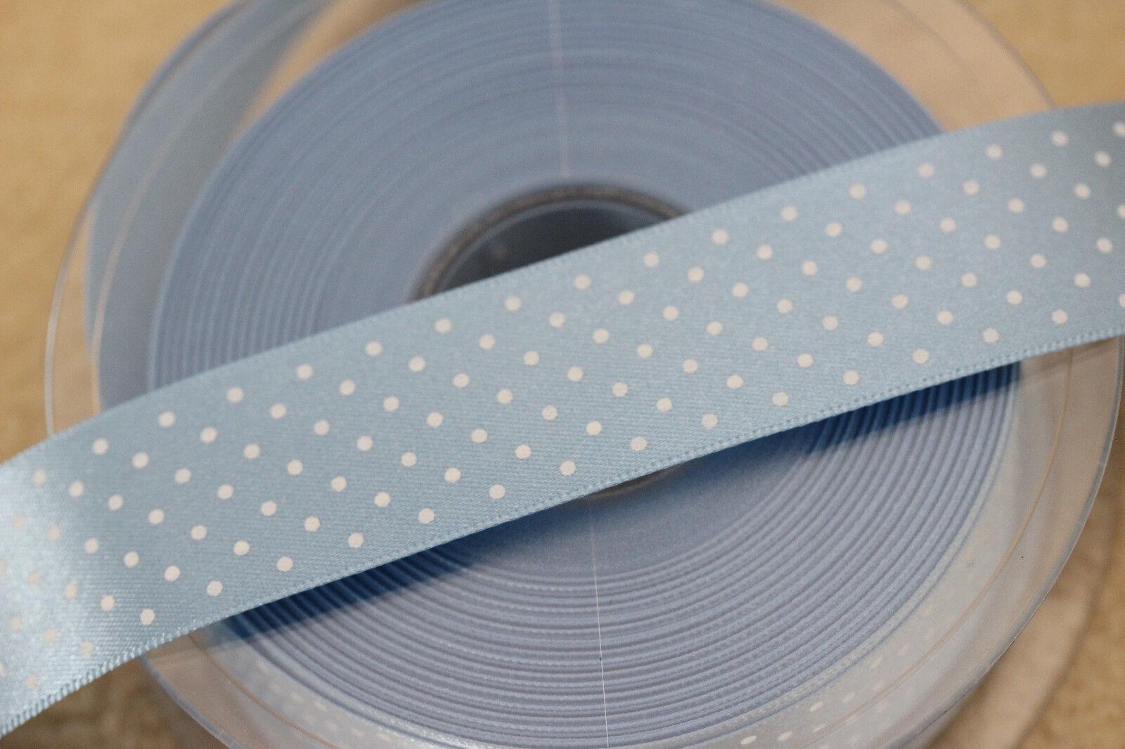 5932 #76 BABY BLUE Berisfords Satin Polka Micro Dot Spotty Ribbon 15mm