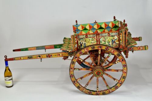 Superb Italian Vintage Ornate Sicilian Processional Donkey Cart Carretto
