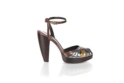 FENDI Peep Toe Heels  38 US 8 Gold Silver Brown Strappy Ankle Strap Sandals