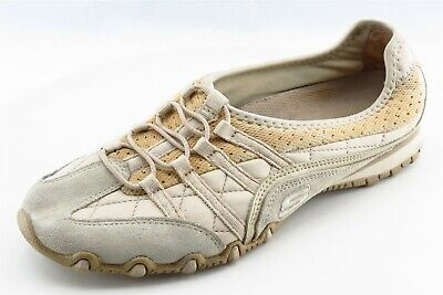 Skechers Size 7 M Beige Slip On Walking Leather Wmn Shoe
