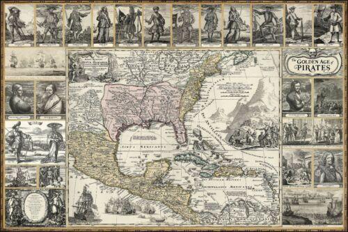 PIRATE MAP POSTER Vintage Art. Caribbean pirates, women, flags, ships, treasure